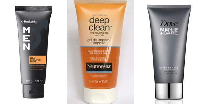 O Boticário (Men Gel de Limpeza, R$15,99) - Neutrogena (Deep Clean Gel de Limpeza - R$ 23 aproximadamente) - Dove (Dove Men Care Esfoliante Pré-Barba - a partir de R$ 54,99)